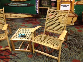 WHITE ASH ADIRONDACK CHAIR WITH SNOWSHOE LACED SEAT AND BACK